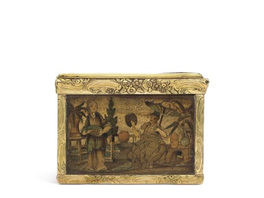 View 5. Thumbnail of Lot 11. A rare marquetry fruitwood snuff box with gold mounts, German, circa 1765.