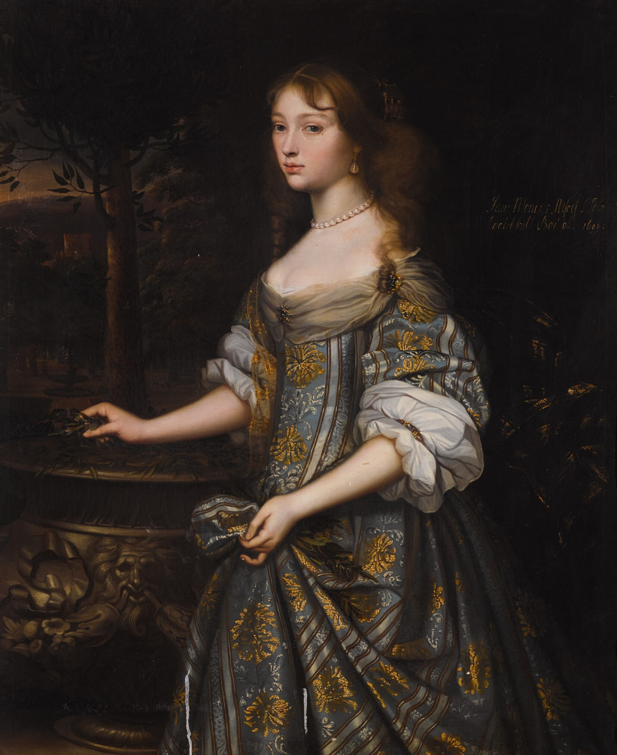 View full screen - View 1 of Lot 38. Portrait of Jane Monins (c.1640-99), three-quarter length, in a blue and gold dress.