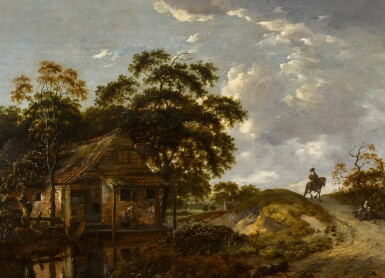 View 1. Thumbnail of Lot 153. Landscape with a cottage by a river and a woman scouring a pot, a gentleman on horseback on a path.