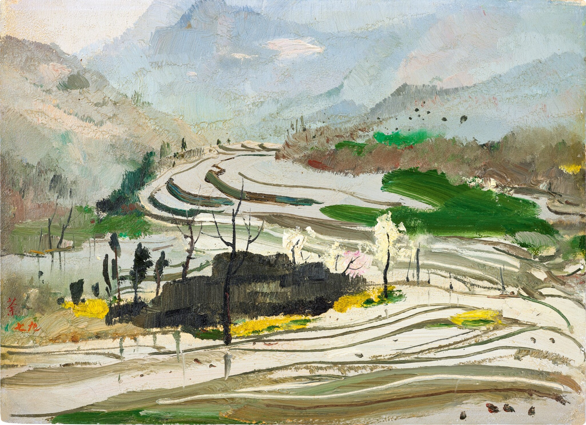 View full screen - View 1 of Lot 1054. Wu Guanzhong 吳冠中 | Rice paddies of Central Sichuan 蜀中水田.