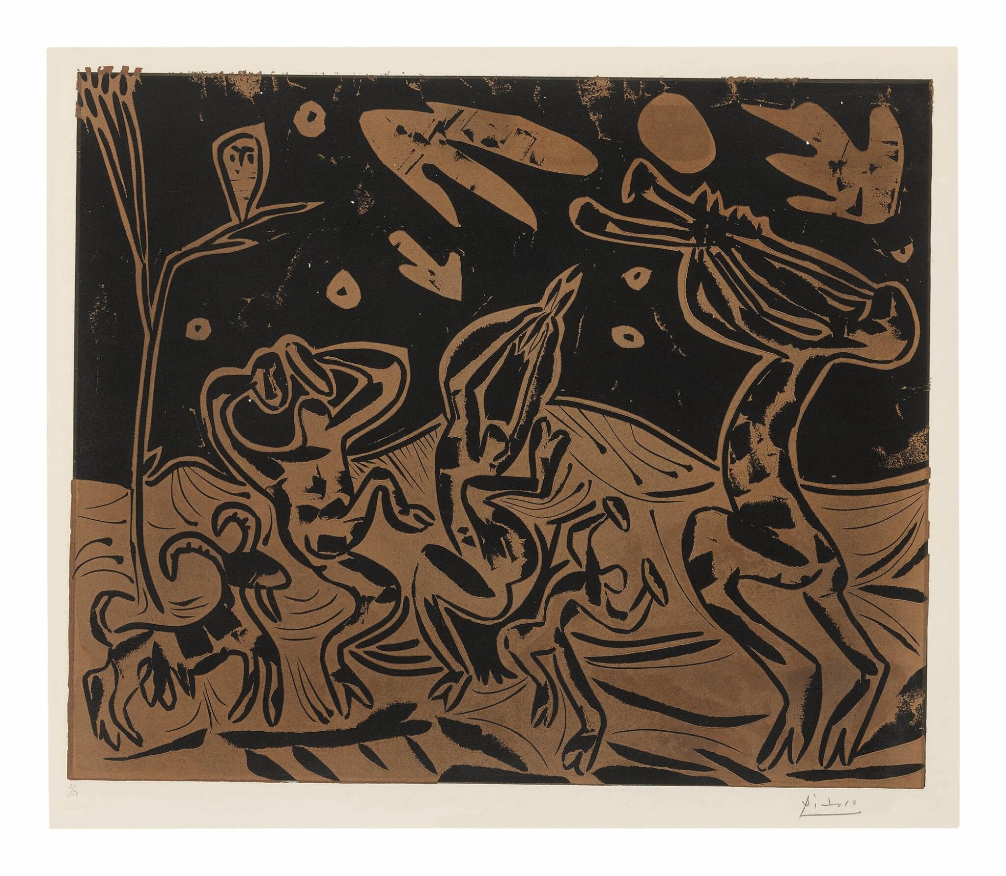 View full screen - View 1 of Lot 28. PABLO PICASSO | DANSE NOCTURNE AVEC UN HIBOU (LES DANSEURS AU HIBOU) (B. 936; BA. 1256).