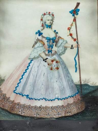FRENCH SCHOOL, 18TH CENTURY [ECOLE FRANÇAISE DU XVIIIE SIÈCLE]   PORTRAIT OF THE PRINCESS OF BOURBON IN DANCE ATTIRE [PORTRAIT DE LA PRINCESSE DE BOURBON EN HABIT DE DANSE]