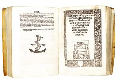 View 2. Thumbnail of Lot 234. Pagnini, Isagoge linguam graecam, Avignon, 1525, near-contemporary limp vellum.