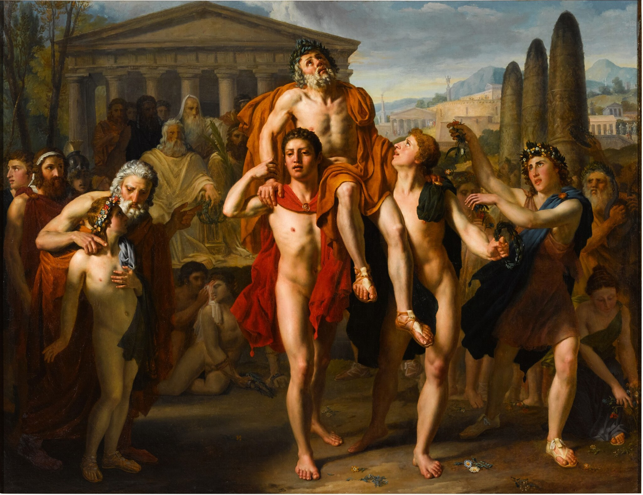View full screen - View 1 of Lot 19. Diagoras of Rhodes carried in triumph by his sons.