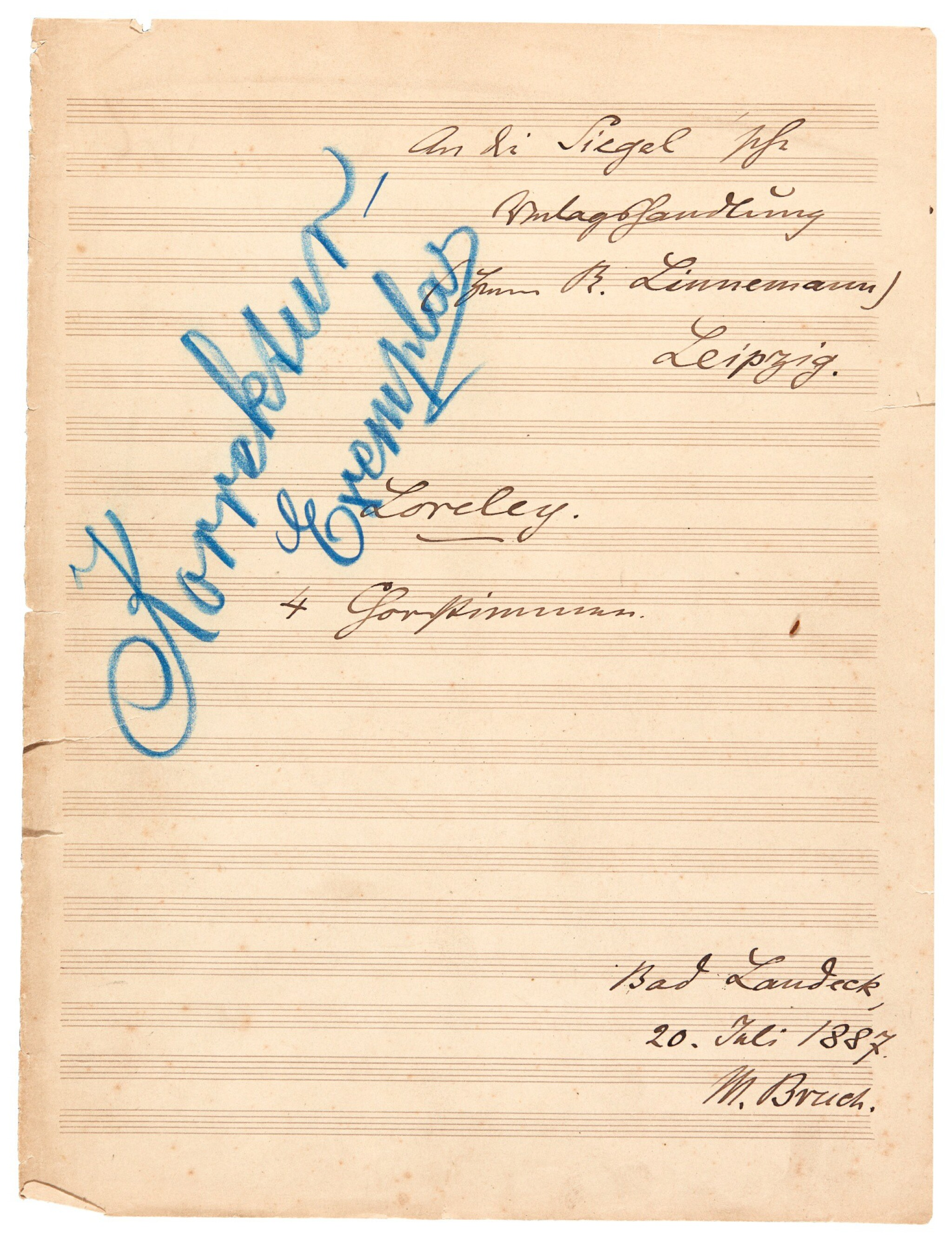 """View full screen - View 1 of Lot 39. M. Bruch. Collection of manuscripts of the opera """"Die Loreley"""" op.16, some corrected by the composer, 1863-1916."""