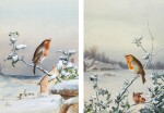 Winter - A Cock Robin; Winter - A Robin and Wren