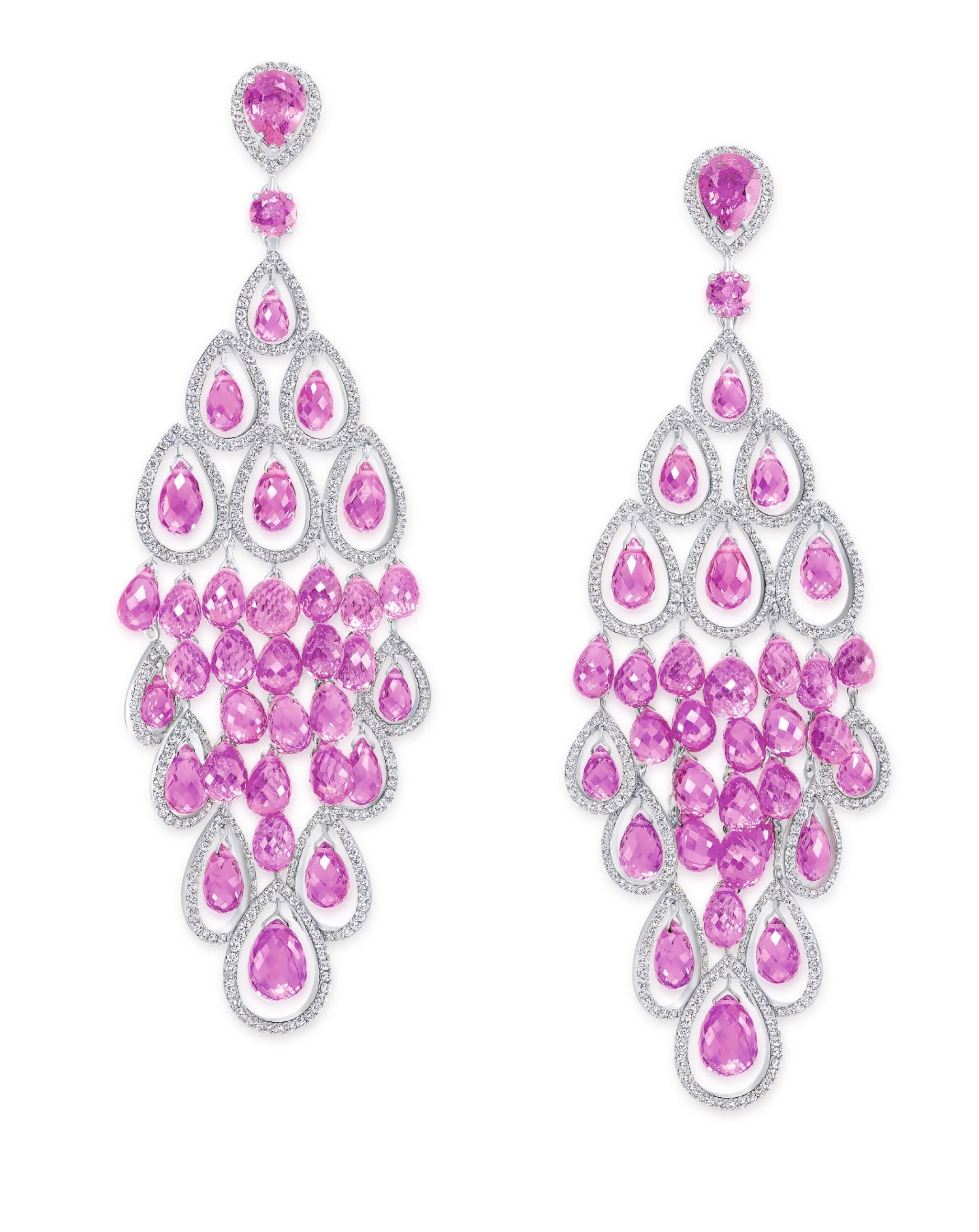 GRAFF | PAIR OF PINK SAPPHIRE AND DIAMOND PENDANT-EARCLIPS 格拉夫 | 粉紅色剛玉配鑽石吊耳環一對