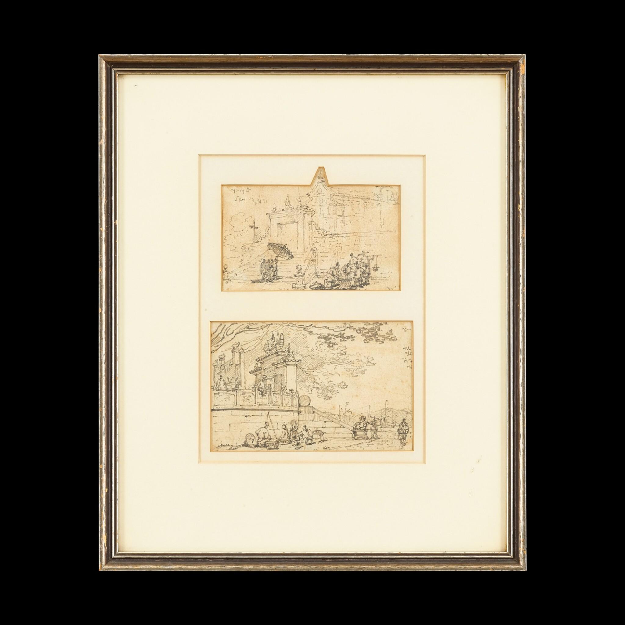 View full screen - View 1 of Lot 203. George Chinnery (1774-1852) Two Sketches of Macau   錢納利(1774-1852年)   素描澳門人物風景圖兩幅 紙本鉛筆 鏡框.
