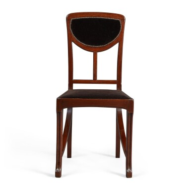View 2. Thumbnail of Lot 160. A SET OF FOUR ART NOUVEAU MAHOGANY SIDE CHAIRS, CIRCA 1900, ATTRIBUTED TO EDOUARD DIOT, PROBABLY MADE BY MAISON DIOT OF PARIS.