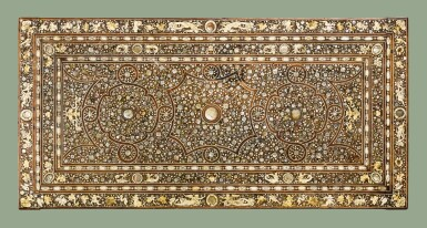 AN ITALIAN BONE AND MOTHER-OF-PEARL INLAID WALNUT TABLE TOP, PROBABLY VENICE EARLY 17TH CENTURY