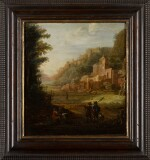 EGLON HENDRICK VAN DER NEER | Wooded landscape with two hunters at the entrance to a valley