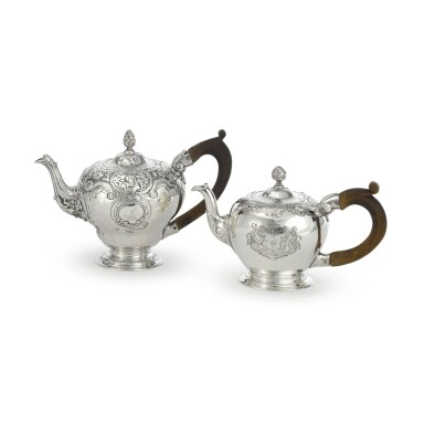 TWO GEORGE II SILVER TEAPOTS, THOMAS WHIPHAM, LONDON, 1747 AND 1748