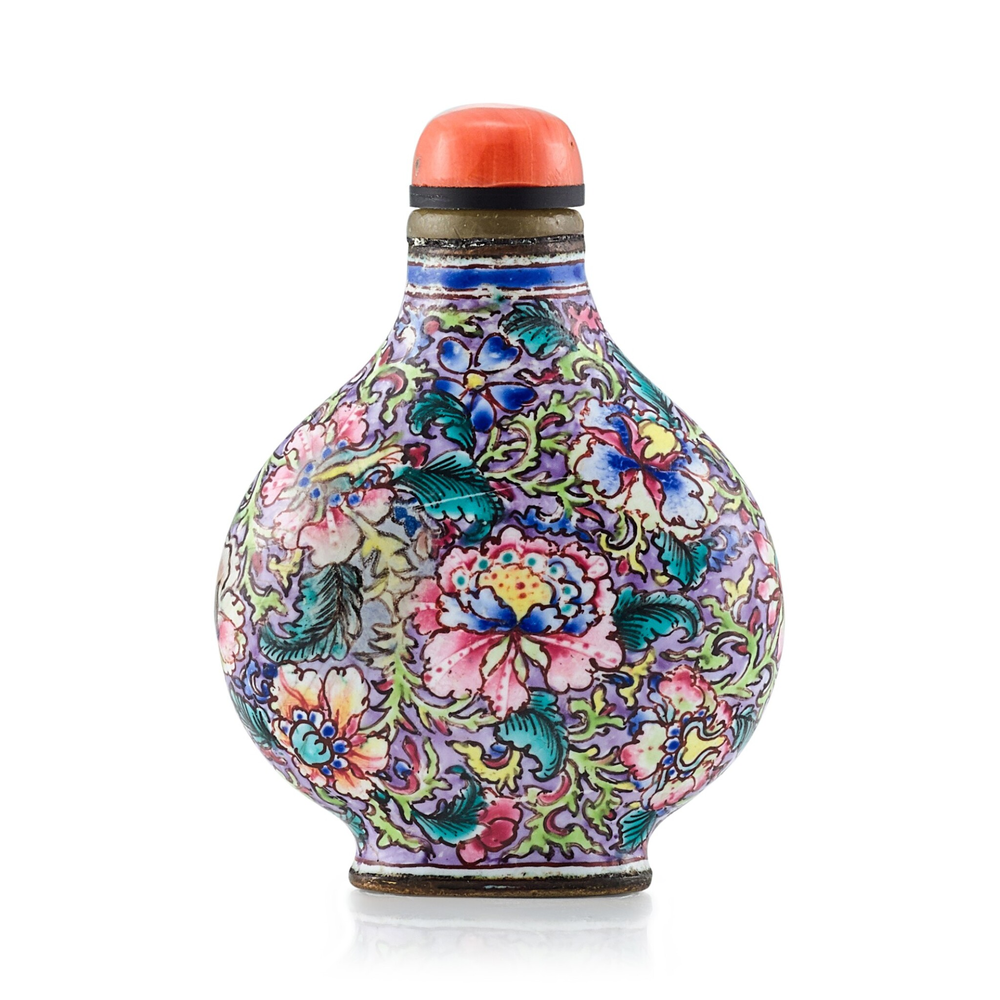 View 1 of Lot 3026. A Canton Enamel 'Millefleurs' Snuff Bottle Mark and Period of Yongzheng | 清雍正 銅胎廣東畫琺瑯百花圖鼻煙壺 《雍正年製》款.