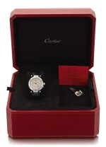 CARTIER | PASHA, REFERENCE 1990, WHITE GOLD WRISTWATCH WITH DATE, CIRCA 1995
