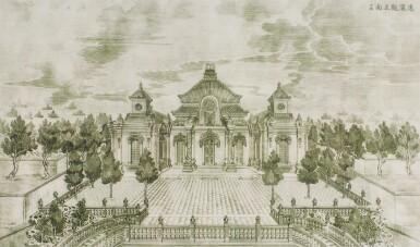 View 10. Thumbnail of Lot 362. A SET OF TWENTY PRINTS OF PALACES, PAVILIONS AND GARDENS AT YUANMING YUAN | 巴黎、1977年 《郎世寧圓明園西洋樓》 一組二十幅 水墨紙本.