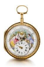 SWISS  [瑞士製] | A RARE AND EARLY GOLD SINGLE CASED PERPETUELLE WATCH WITH POLYCHROME ENAMEL PAINTED DIAL AND CENTRE SECONDS  CIRCA 1785   [罕有早期黃金自動上鏈大三針懷錶配琺瑯彩繪錶盤,年份約1785]