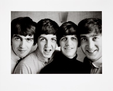 View 2. Thumbnail of Lot 16. NORMAN PARKINSON | The Beatles, Russell Square, 1963, silver print, signed, titled, dated, numbered 8/21.