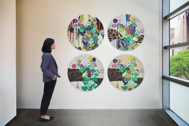 村上隆 Takashi Murakami | 澗聲系列:A: 記得我的腳從地面抬起時;B:像河流一樣;C:山澗聲;D:光琳金(四幅作品) Kansei Series: A: I Recall The Time When My Feet Lifted Off The Ground, Ever So Slightly- Korin Chrysanthemum; B: Like The River's Flow; C: Voice of the Mountain Stream; D: Korin Gold (four works)