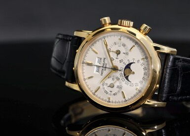 View 7. Thumbnail of Lot 30. PATEK PHILIPPE | REFERENCE 3970E  A YELLOW GOLD PERPETUAL CALENDAR CHRONOGRAPH WRISTWATCH WITH MOON PHASES AND LEAP YEAR INDICATION, MADE IN 1992.