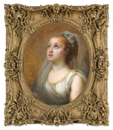 View 3. Thumbnail of Lot 147. ELISABETH-LOUISE VIGÉE LE BRUN     YOUNG GIRL IN ANTIQUE COSTUME WITH HER HEAD VEILED AND CROWNED WITH WHITE SWEETBRIAR BLOSSOMS.