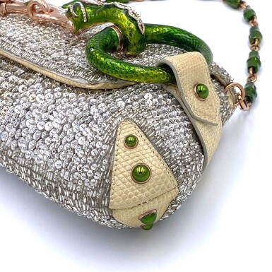 View 7. Thumbnail of Lot 707. GUCCI   TOM FORD SERPENT HEAD CLUTCH BAG IN LIZARD WITH SWAROVSKI CRYSTALS.