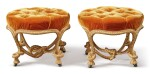 A PAIR OF FRENCH GILTWOOD ROPE-TWIST STOOLS IN THE MANNER OF FOURNIER, LAST QUARTER 19TH CENTURY