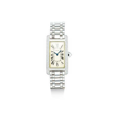 View 1. Thumbnail of Lot 1108. CARTIER | TANK AMÉRICAINE, REFERENCE 1713, A WHITE GOLD AND DIAMOND-SET WRISTWATCH WITH BRACELET, CIRCA 2000.