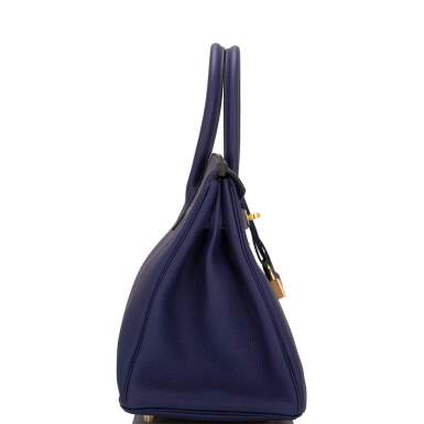 View 3. Thumbnail of Lot 5. HERMÈS   BLUE ENCRE BIRKIN 30CM OF TOGO LEATHER WITH GOLD HARDWARE.