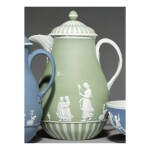 A WEDGWOOD GREEN AND WHITE JASPER-DIP COFFEE POT AND COVER LATE 18TH CENTURY
