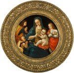 MICHELANGELO DI PIETRO MEMBRINI, FORMERLY KNOWN AS THE MASTER OF THE LATHROP TONDO  |  MADONNA AND CHILD, WITH THE INFANT SAINT JOHN AND TWO SAINTS