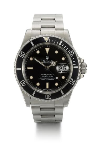 ROLEX | SUBMARINER, REFERENCE 16610,  STAINLESS STEEL WRISTWATCH WITH DATE AND BRACELET, CIRCA 1988