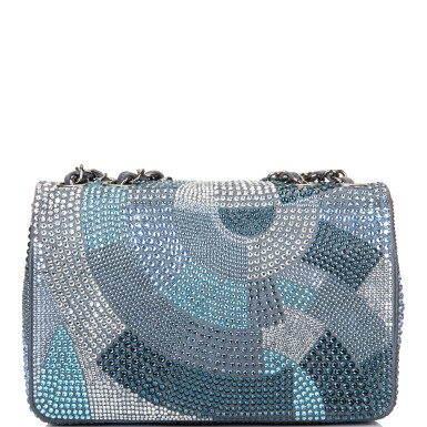 View 4. Thumbnail of Lot 31. Chanel Multicolor Strass Flap Bag of Swarovski Crystals and Grey Leather with Silver Tone Hardware.