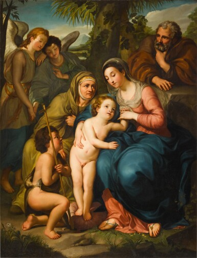 View 1. Thumbnail of Lot 184. The Holy Family with Saint Elizabeth, the infant Saint John the Baptist and two angels, in a landscape.