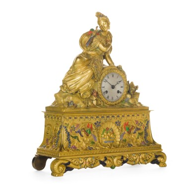 View 2. Thumbnail of Lot 65. A FRENCH CHINOISERIE GILT-BRONZE AND POLYCHROME DECORATED MANTEL CLOCK, CIRCA 1830.