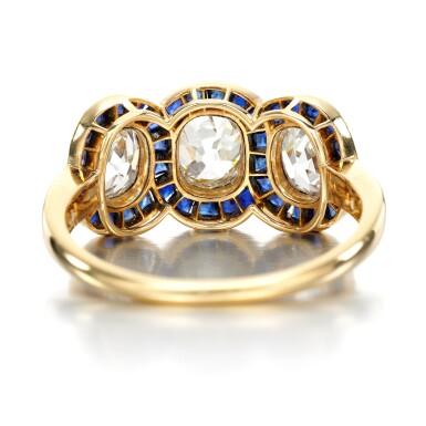 View 3. Thumbnail of Lot 43. Sapphire and diamond ring, circa 1915.