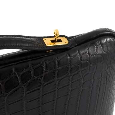 View 5. Thumbnail of Lot 143. Black Petit H Crocodile Tablet Bag.