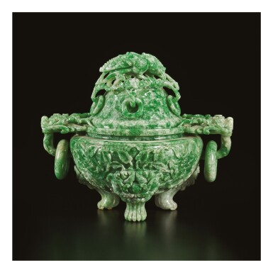 View 1. Thumbnail of Lot 668. AN APPLE-GREEN JADEITE TRIPOD CENSER AND COVER, QING DYNASTY, LATE 19TH / EARLY 20TH CENTURY.