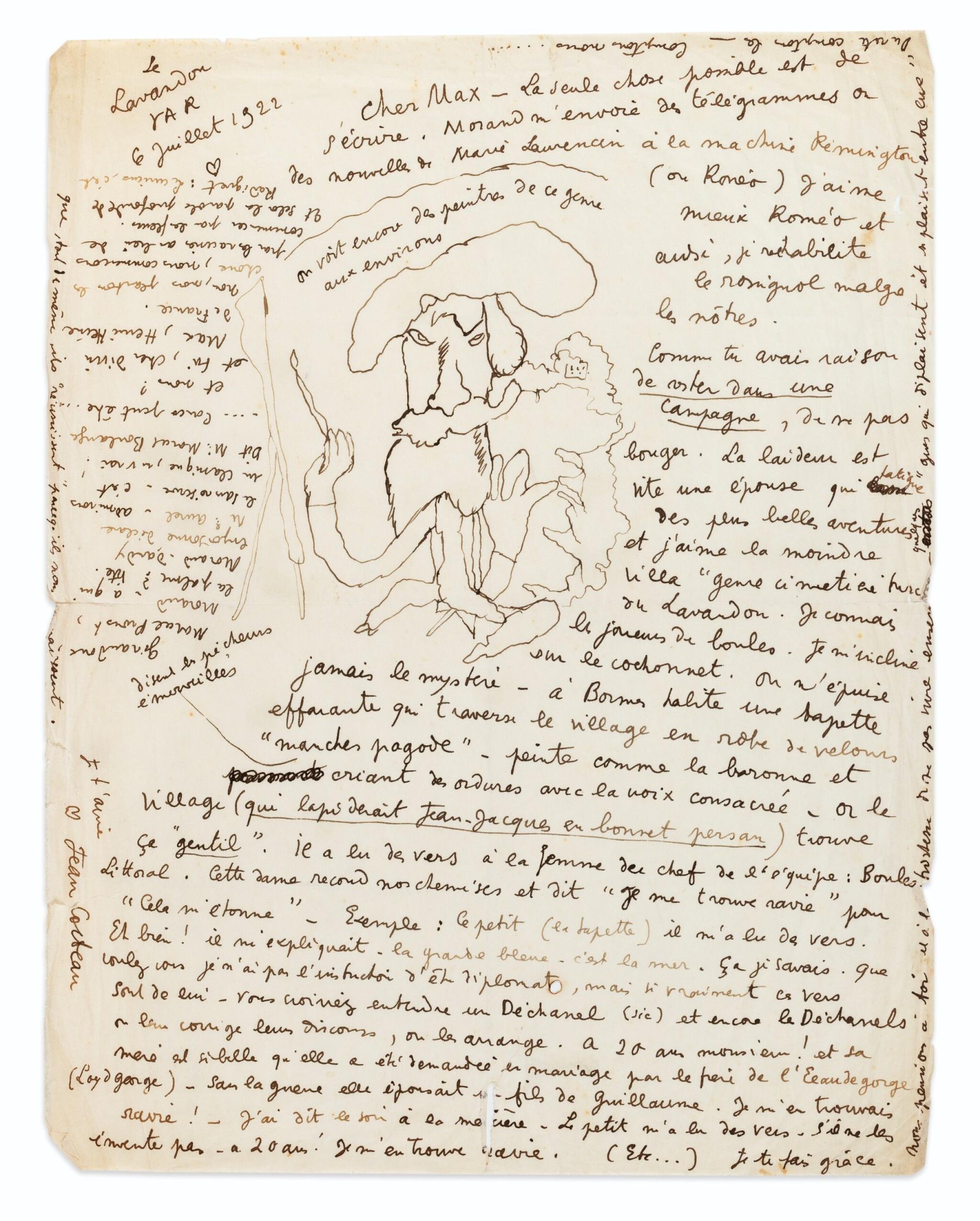 View full screen - View 1 of Lot 246. 2 lettres autographes signées à Max Jacob, l'une illustrée. 1921-1922..