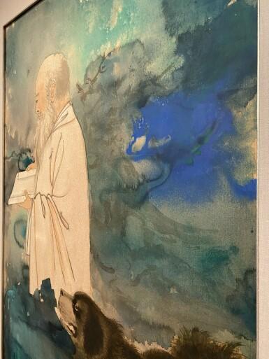 View 4. Thumbnail of Lot 8003. Zhang Daqian, Self Portrait with a Tibetan Mastiff ︳張大千  自畫像與黑虎.