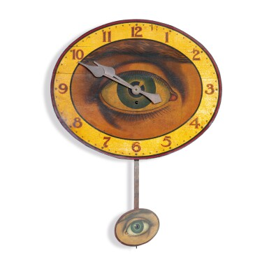 VERY FINE AND RARE POLYCHROME PAINT-DECORATED 'ALL-SEEING EYE' WALL CLOCK, GILBERT CLOCK COMPANY, CIRCA 1905