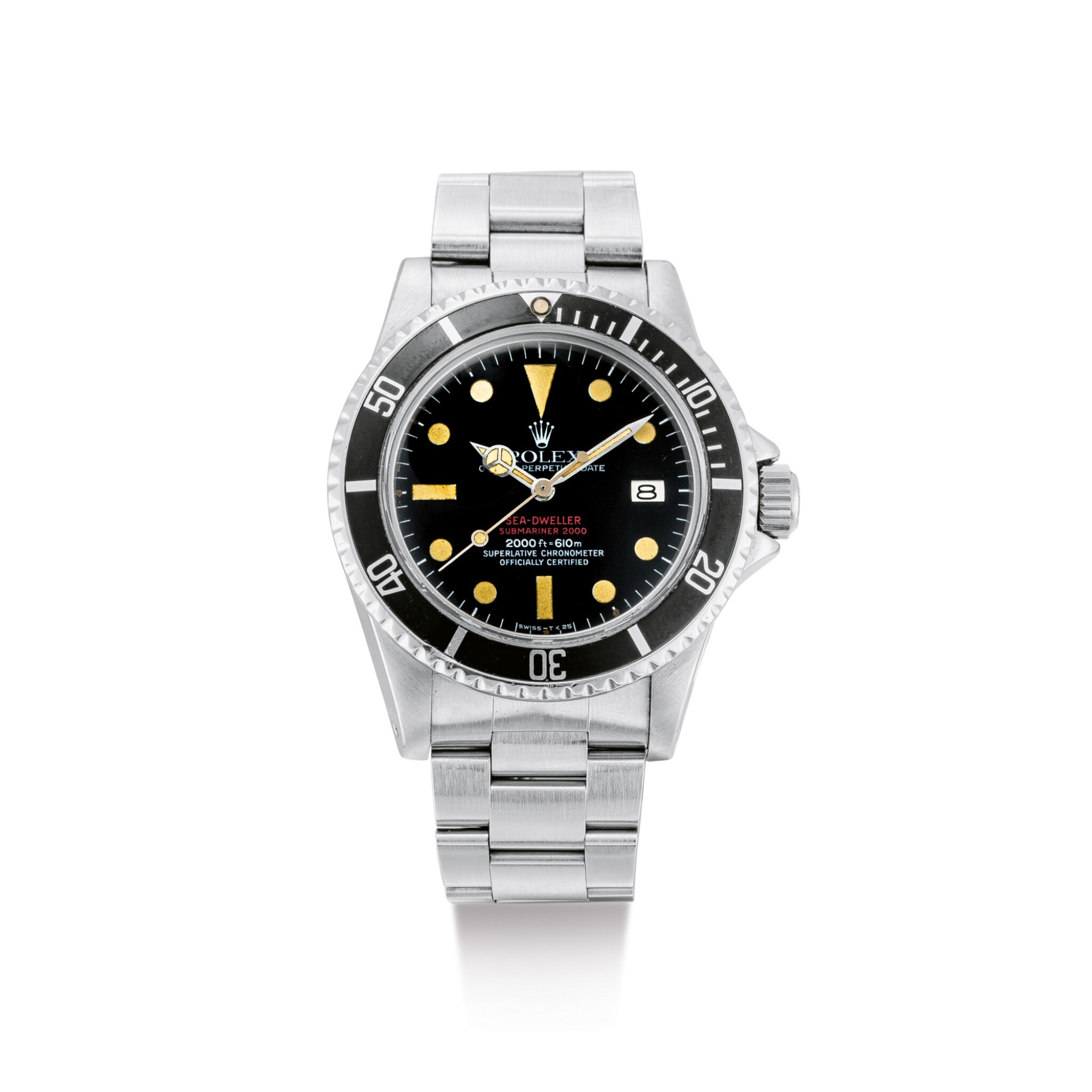 "View 1 of Lot 2111. ROLEX | SEA-DWELLER 'DOUBLE RED', REFERENCE 1665, A STAINLESS STEEL WRISTWATCH WITH DATE AND BRACELET, CIRCA 1976 | 勞力士 | ""Sea-Dweller """"Double Red"""" 型號1665 精鋼鏈帶腕錶,備日期顯示,錶殼編號4190751,約1976年製""."