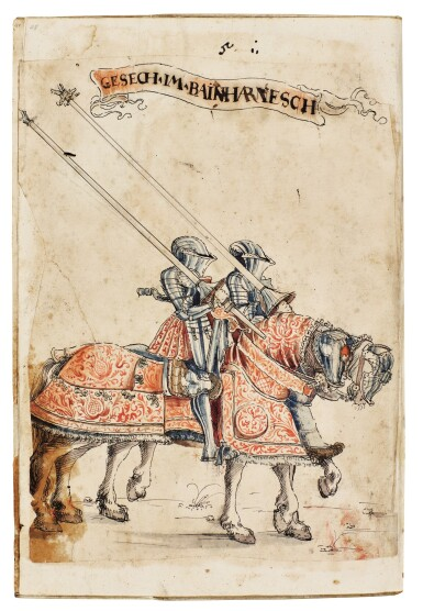 View 5. Thumbnail of Lot 9. WORKSHOP OF HANS BURGKMAIR THE ELDER | A 'TOURNAMENT BOOK', WITH 16 NUMBERED SHEETS OF DRAWINGS OF KNIGHTS, MOSTLY ON HORSEBACK, IN PAIRS .