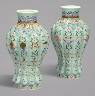 View 2. Thumbnail of Lot 20. A RARE PAIR OF FINELY DECORATED CELADON-GROUND FAMILLE-ROSE 'BAJIXIANG' LOBED VASES, QIANLONG SEAL MARKS AND PERIOD | 清乾隆 粉青地粉彩八吉祥紋瓜棱式瓶一對 《大清乾隆年製》款.