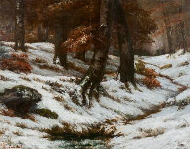View 1. Thumbnail of Lot 11. GUSTAVE COURBET   Paysage de neige avec arbres et rochers.