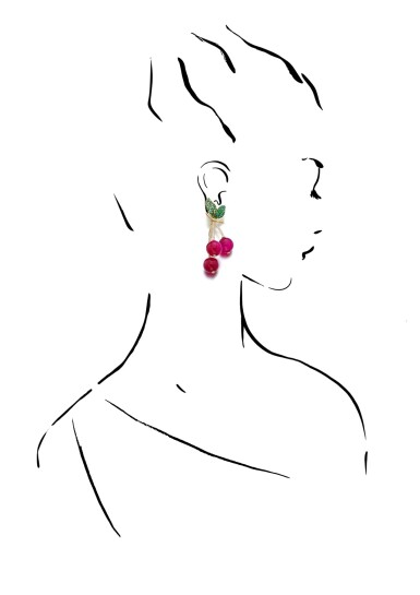 View 4. Thumbnail of Lot 7. MICHELE DELLA VALLE | PAIR OF RED AGATE, TSAVORITE GARNET AND DIAMOND EAR CLIPS, 'CILIEGIE'.