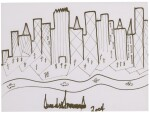 Donald Trump, original drawing of a cityscape skyline, signed and dated