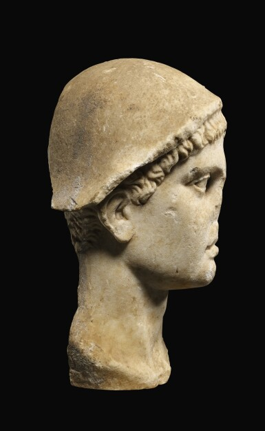 View 2. Thumbnail of Lot 24. A ROMAN MARBLE HEAD OF HERMES, CIRCA 1ST CENTURY A.D..