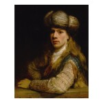 Portrait of a young man behind a balustrade, possibly a self-portrait of the artist
