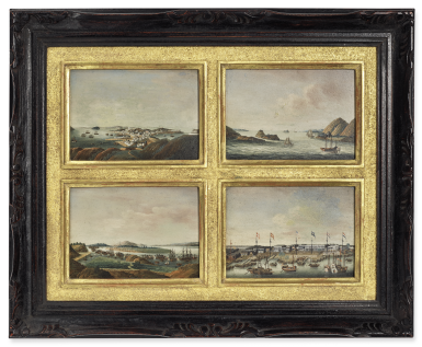 View 1. Thumbnail of Lot 1200. A VERY RARE SET OF FOUR VIEWS OF THE CHINA TRADE QING DYNASTY, EARLY 19TH CENTURY | 清十九世紀初 外銷風景畫一組四幅 銅片油彩 裝框.