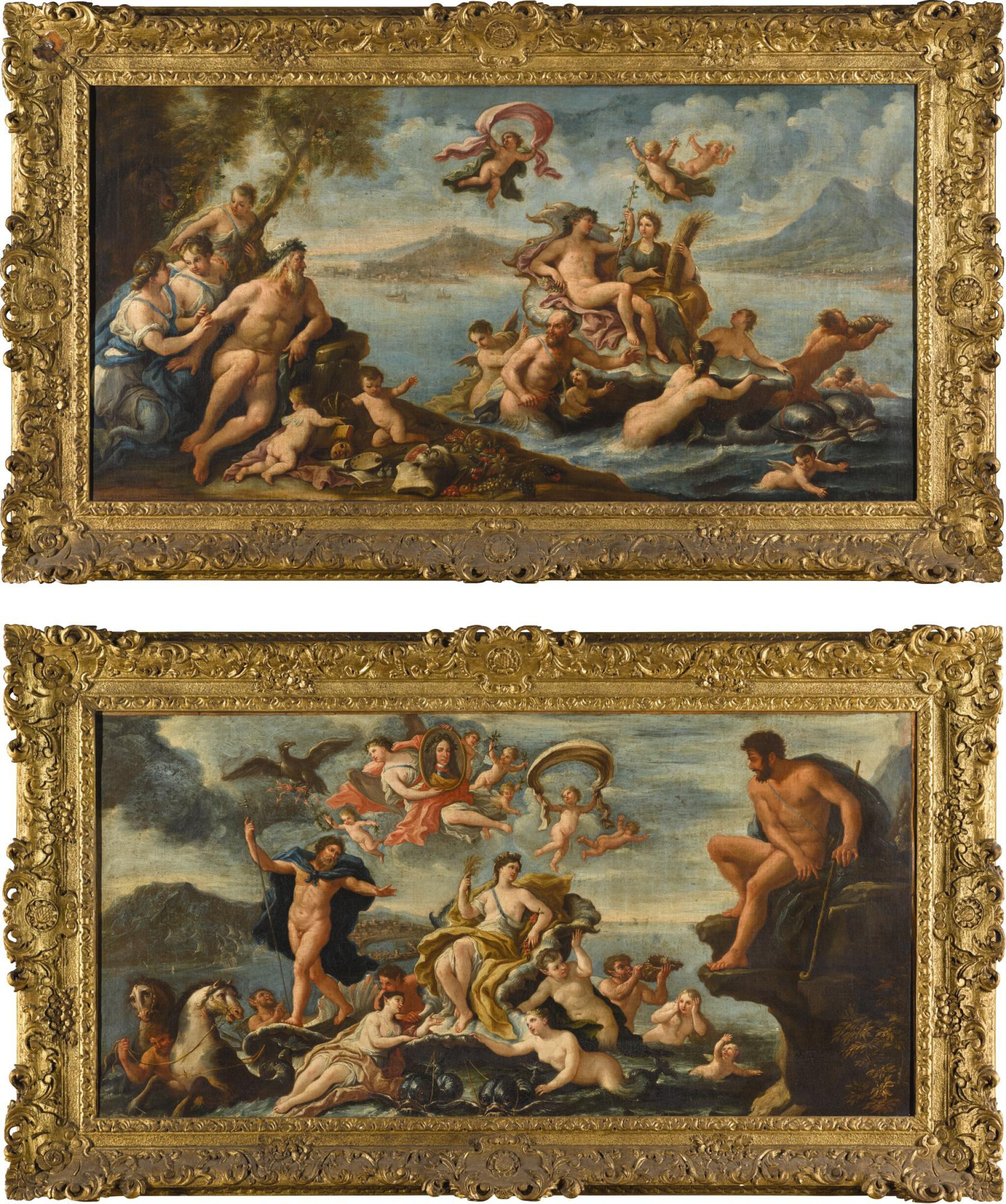 View full screen - View 1 of Lot 9. CIRCLE OF PAOLO DE' MATTEIS | AN ALLEGORY OF PROSPERITY AND THE ARTS IN THE CITY OF NAPLES; AND TRIUMPH OF GALATEA WITH A VIEW OF MESSINA BEYOND, AND A PORTRAIT OF CHARLES VI (1685-1740), HOLY ROMAN EMPEROR, HELD ALOFT BY VICTORY.